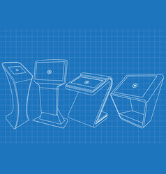 blueprint of four promotional interactive kiosk vector image