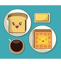 Breakfast design Kawaii bread icon vector image