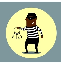 Burglar carrying a set of keys vector
