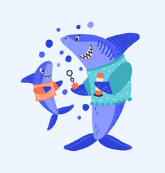 cartoon shark family blow bubbles flat vector image