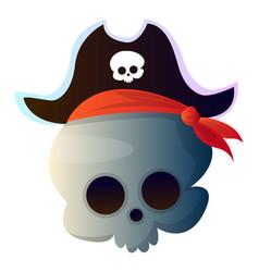 Cartoon skull with pirat hat on white background vector
