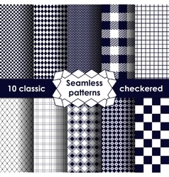 Checkered fabric seamless pattern blue and white vector image