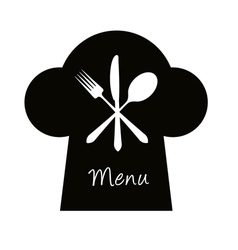 Chef hat with fork knife and spoon - menu concept vector image
