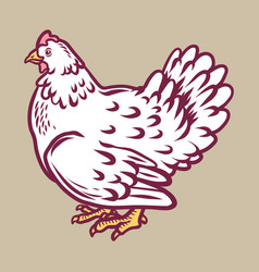 Chicken icon hand drawn style vector