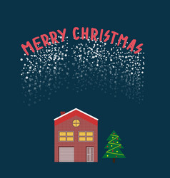 Christmas star snow globe flat with brick house vector