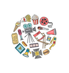 cinema doodle icons in circle shape vector image