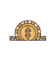 Color crayon silhouette closeup flat coin with vector