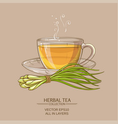 Cup of lemongrass tea vector