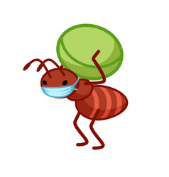 Cute little ant is carrying a pea on its back vector