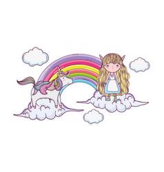 Cute little fairy with rainbow and unicorn vector