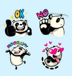 cute panda sticker panda patches vector image