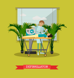 defibrillator in flat style vector image