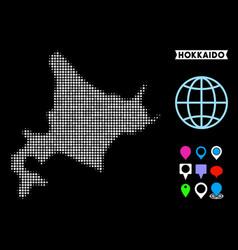 Dotted halftone hokkaido island map vector