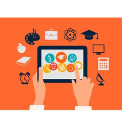 E-learning concept hands touching a tablet vector