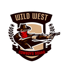 Emblem logo cowboy shooting from two revolvers vector
