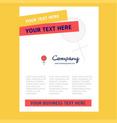 female title page design for company profile vector image