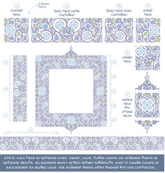 flower decorative ornaments building kit - blue vector image