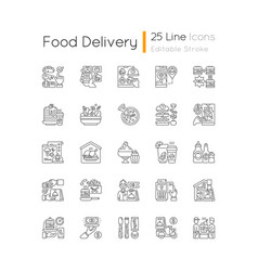 Food delivery linear icons set vector