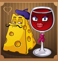 French wine and cheese cartoons vector