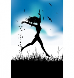 Girl running in field vector