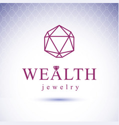 glossy gemstone design element faceted jewelry vector image