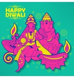 Goddess Lakshmi and Lord Ganesha on happy Diwali vector image