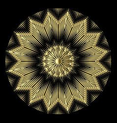 Gold 3d round mandala textured zigzag pattern vector