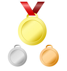 gold silver and bronze medals for winners with vector image