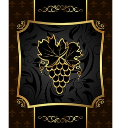 Golden frame with grapevine vector