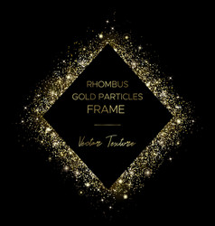 Golden rhombus frame gold particles and text vector