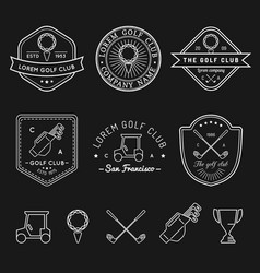 Golf logos set sports club linear vector