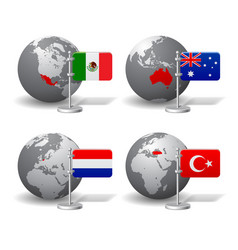 gray earth globes with designation mexico vector image