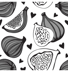 Greyscale seamless pattern with figs vector