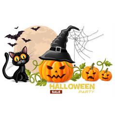 halloween card with black cat and pumpkins faces vector image