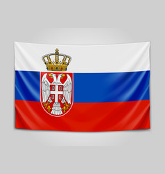 Hanging flag of serbia republic of serbia vector