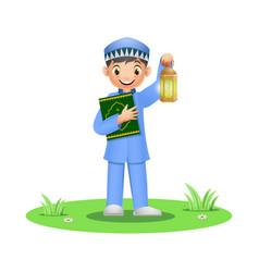 happy muslim boy holding quran book with ramadan l vector image