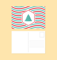 happy new year and merry christmas postcard flat vector image