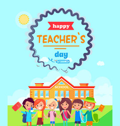 Happy teacher s day wish colorful postcard vector