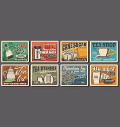 hot tea drink retro posters beverage vector image