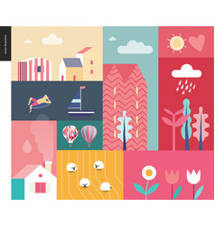 Idillic summer landscape collage vector