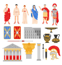 Imperial rome icons set vector