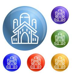 jewish church icons set vector image
