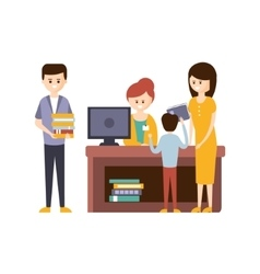 Library Or Bookstore With People Using Help Of vector image