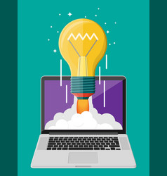 light idea bulb launching into space from laptop vector image