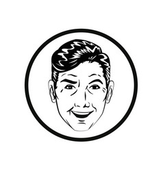 man comic style black and white vector image