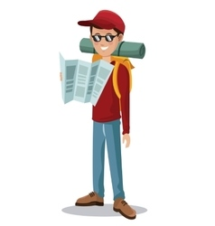 man tourist reading map backpack glasses vector image