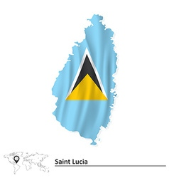 Map of Saint Lucia with flag vector image