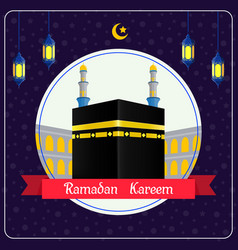 marhaban ya ramadhan with hajj kaaba background vector image