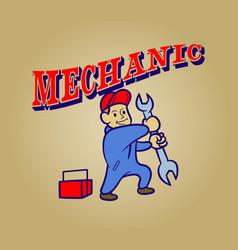 Mechanic retro cartoon vector