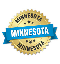 Minnesota round golden badge with blue ribbon vector